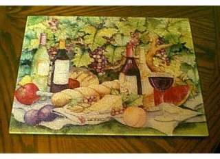 COUNTER SAVER TEMPERED GLASS CUTTING BOARD WINE BOTTLES, CHEESE