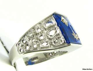 MASONIC Master Mason   10k White Gold Blue Stone RING