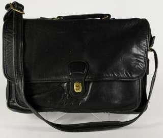 Coach Black Leather Cross Body Briefcase Satchel Shoulder Bag Handbag