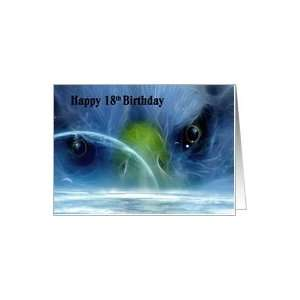 Happy 18th Birthday / Eagle   Blue   Outer space View Card