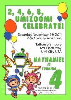 TEAM UMIZOOMI Birthday Party Personalized Custom Invitation   Multiple