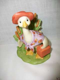 Hallmark Cards Porcelain Goose Duck Figurine w Suitcase