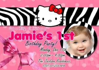 HELLO KITTY Zebra Invitations Party Photo invitations Personalised