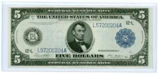 Series 1914 $5 Dollar Bill Large Note Blue Seal US Currency Five