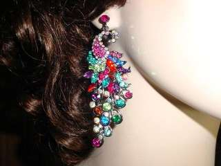 BRIDAL CRYSTAL PEACOCK HUGE DROP ELEGANT EARRINGS *NEW*