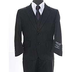 Ferrecci Boys Shadow Stripe Black 3 piece Suit