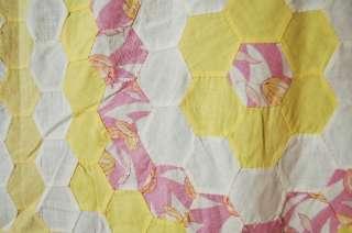 30s Vintage Grandmothers Flower Garden Antique Hand Stitched Quilt