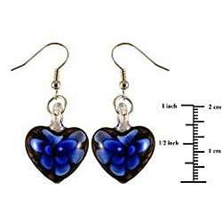 style Glass Black and Blue Flower Heart Earrings