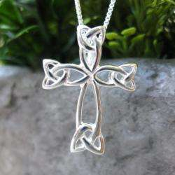 Sterling Silver Box Chain Necklace and Celtic Cross Pendant (Thailand