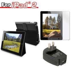 piece Leather Case/ Travel Charger/ Screen Protector for Apple iPad 2