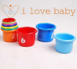 10 x Baby Bath Toy Stacking Pile Up Tower Count Cups