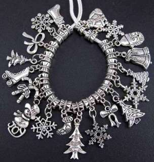 Tibetan Silver Christmas Gift Dangle Beads Fit Charm Bracelet #fm83