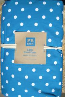 ~ PB TEEN ~ TEAL DOTTIE DUVET COVER ~ FULL / QUEEN ~ BEDDING