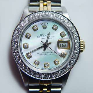 ROLEX Oyster Perpetual Datejust 1ct Diamond Bezel Stainless Steel 18K
