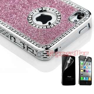 Pink Luxury Bling Glitter Chrome rhinestone Hard Back Case Cover For