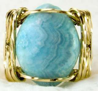 Natural Blue Chalcedony Ring 14k Rolled Gold Petite