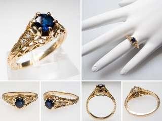 Vintage Blue Sapphire Diamond Engagement Ring Solid 14K Gold Filigree