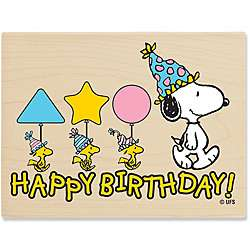 Peanuts Snoopy Happy Birthday Wood mounted Rubber Stamp