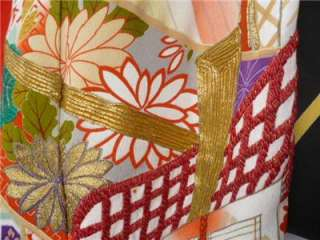 Vintage Silk Wedding KIMONO Black Uchikake Hand Painted EMBROIDERED