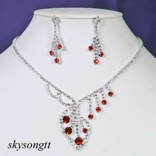 Red Clear Crystal Bridal Pendant Necklace Earrings Set T010R