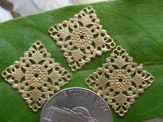 18 Gold Brass Flat Square Filigree Pendant Charm Findings cf013