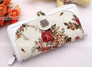 2012 Women lady girls Rosa multiflora series cotton&PU purse long