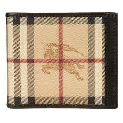 Burberry Beige Plaid Bi fold Wallet