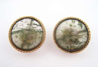 Elegant Antique 19c Victorian 14k Gold Moss Agate Button Style