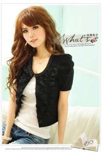 Women Short Sleeve Outerwear Jacket Cardigan Tops 5142#