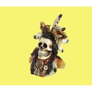 Indian Warrior Skull Hand Painted Resin Home & Kitchen