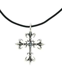 Gerald David Bauman Silver Fleur de Lis Cross Necklace