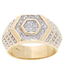 14 kt. Yellow Gold Pave 1/4 ct Diamond Mens Ring