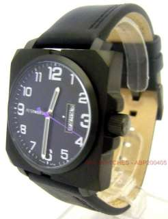 PETER WERTH MENS BLACK DIAL & DATE COUNTER WITH BLACK LEATHER STRAP