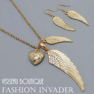 NEW Designer Inspd Angel Wing Necklace & Earring Set GD