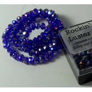 Blue Ab Luster Crystal Glass Faceted Fluted Machine Cut Rondelle