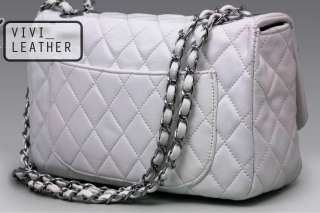 REAL Leather Quilted Quilting Clutch Chain Bag Handbag