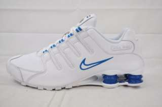 NIKE SHOX NZ 378341 134 WHITE BLUE PERFORATED LEATHER MENS RUNNING