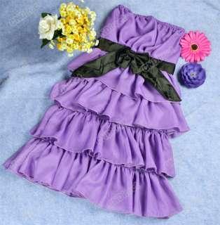 Fashion Sexy Womens Sweet Bowknot Layers Petticoat Tube Mini Dress