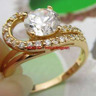 18K Real Yellow Gold Filled Women CZ Ring Sz8 New Design Zircon