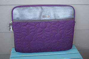 NWT FOSSIL BRAND KEY PER PURPLE QUILTED LAPTOP NETBOOK COVER CASE BAG
