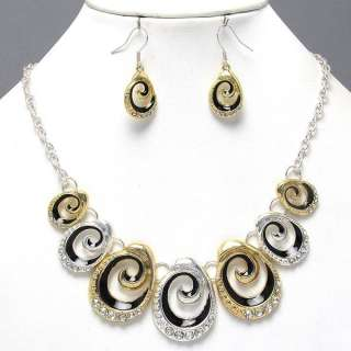 Silver Black Crystal Swirl Art Costume Jewelry Art Necklace Set