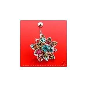 Swarovski Crystals Flower Beautiful Belly Navel Ring