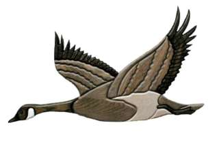 CANADIAN GOOSE Wood OAK CARVED 21x12 Wall Plaque INLAY