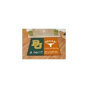 Baylor Bears & Texas Longhorns House Divided Rug  Sports