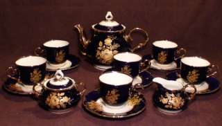 Golden Roses Original Cobalt Blue China Coffee/Tea Set