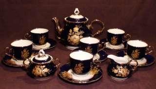 Golden Roses Original Cobalt Blue China Coffee/Tea Set