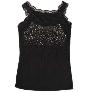 New Womens Lace Tanks Vests Tops Shirts Black White