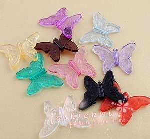50X Colors Plastic Transparent NIce Butterfly Charm 26X35mm