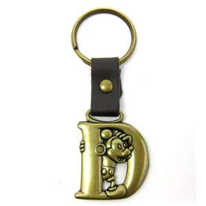 Disney Mickey Mouse Brass Initial Key Ring Letter D