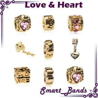 Love & Heart set Silver beads for European bracelet charm free ship
